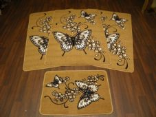 ROMANY GYPSY WASHABLES NEW 2017 BUTTERFLYS FULL SET OF 4 MATS/RUGS BISCUIT/BLACK